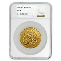 1987 Isle of Man 10 oz Gold Angel BU MS-66 NGC - SKU#174823