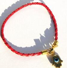Kabbalah Bracelet Leather Like Red String Hamsa Pendant Good Luck Kabbala Kabala