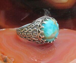 Ring Türkis Kupfertürkis orientalische Muster Sterling Silber 925 Gr 17,2