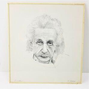 Signed Albert Einstein Mid Century Pencil Sketch Portrait