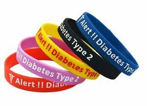 1 x Diabetes Type 2 Medical Alert Wristband Silicone Bracelet UK SELLER