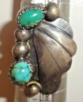 Old Pawn Silver & Turquoise Ring Size 6.5