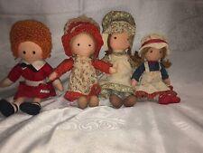 Lot Of 4 Knickerbocker Holly Hobbie Rag Dolls - Carrie, etc. & Orphan Annie
