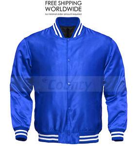 College Baseball Letterman Varsity Bomber Jacket Supreme Quality Blue Satin