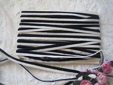Vintage 2 Toned Dark Navy Blue And White Velvet Ribbon Trim 4 Yards