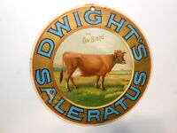 Lithographed Cardboard Sign Dwight's Saleratus - The Cow Brand - Flour  c1880