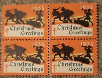 Christmas seal Wx68 Block Of 4 Mint Never hinged Super nice Condition With Nice