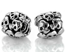 Silver Skull Spacer Beads For European Charm Bracelets Halloween Charms 1-SKL1