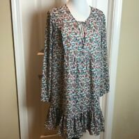 J Crew Floral Tie Front Long Sleeve Shift Dress White Multi Colored Size Large