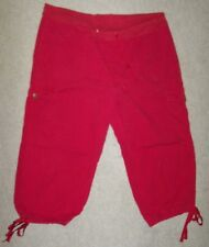 Womans 2X Burgundy Red Cotton Capri Cropped Stretch Cargo Pants Nick & Sarah