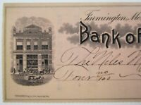 Antique Check Farmington Missouri Bank Niles Interurban Trolley Car Company 1910