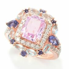 Meher's Rose Vermeil 4.72ct 9x7mm Kunzite & Multi Gemstone Ring Size 6 7, 8 & 10