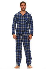 Men Fleece Pajama Set, Classic Premium Plaid Flannel Lounge Pajama Pant Set