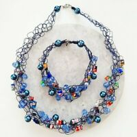 Art Glass Beaded Faux Pearl Crochet Woven Blue Wire Necklace and Bracelet Set