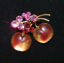 Vintage Signed Austria Crystal Amber/ Rose Colored Cherry Fruit Brooch Pin