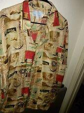 """Whitby 100% Washed Silk Camp Shirt = Fishing Good Catch ≈ XL Men's 25"""" P2P ~ EUC"""