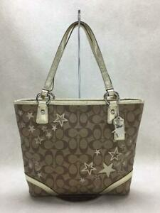 COACH  Star Printed Pvc Beg F18853 Real Pvc  Beige Fashion Tote bag From Japan