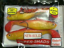 "Sidewinder Super Shads 5"" SeaFishing Lures SOLID 43GRAMS 3PC RHUBARB/CUSTARD COD"