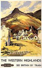 Vintage occidentales Tierras Altas de Escocia Ferrocarril A4 cartel impresión
