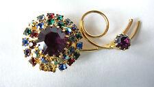 Vintage Goldtone Amethyst Multi Colored Prong Set Rhinestone Flower Brooch