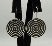 Sterling Silber Ohrringe an Haken Spiralen massiv punziert 925 handgefertigt