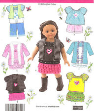 PATTERN to Sew 18in AG doll clothes EASY skirts tops vest casual Simplicity 1902