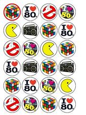 "24 x I Love The 80's Party Mix 1.5"" PRE-CUT Rice Paper Cupcake / Cake Toppers"