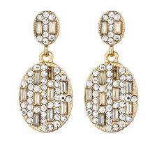Pendientes De Clip-Colgante Pendiente De Oro Con Cristales Claros Y Oro-glutinoso