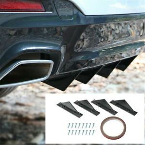 4Pcs Carbon Fiber Look ABS Shark Fin Spoiler Car Rear Bumper Lip Wing Splitter