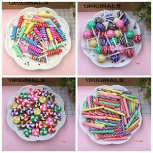 Cabochons Charms Miniature Clay Swirl Lollipop Round Lollipop Clay Candy