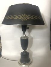 MID CENTURY MODERN BLACK TOLE LAMP Metal Milk Glass Electric Table Light Vintage