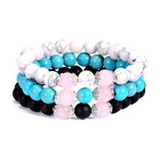 3 Bracelet Femme,Homme,Quartz Rose,Onyx,Turquoise,Ésotérique Strèss,Bien Étre,FR