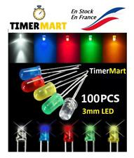 Lot de 100 LED 3mm DIODE 5 couleurs (bleu, jaune, rouge, vert, Blanc) TimerMart