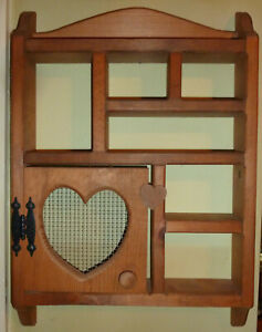 Vintage Wooden Knick Knack Hanging Display Wall Shelf/With Cut Out Heart