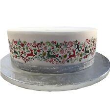 A4 Edible Decor Icing Sheet Reindeer Christmas Ribbon Border for larger cakes