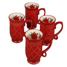 The Pioneer Woman Cheerful Rose Set Of 4 Ceramic  Red Floral Holiday  14 oz. Mug