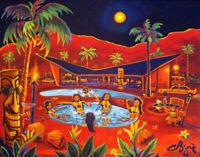 Midnight Sun Palm Oasis Desert Resort Tiki Hula Island Kitsch CBjork PRINT