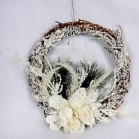 Christmas Decoration Wreath Natural Wood Garland White Foam Hanging