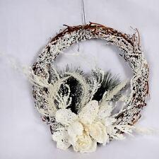 Christmas Decoration Wreath Natural Wood Garland White Foam Hanging