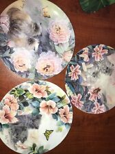 """Lily Chang """"petal Pals"""" Collector Plate Lot kittens, Cats, Flowers Euc"""