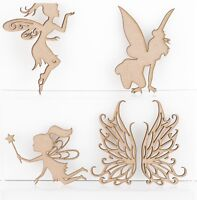 Wooden MDF Girl Fairies Fairy Wings Fantasy Decoration 3mm Thick Blank