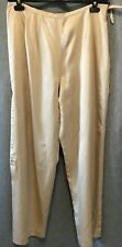 Talbots Women's 100% Satin Silk Pants Size 10 Gold Straight Legs Side Zip Lined