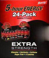 5-Hour Energy Extra-Strength Berry Flavor Vitamins Sugar-Free, 24 or 12 Shots
