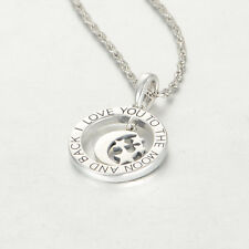 I LOVE YOU TO THE MOON AND BACK SILVER PENDANT - WEDDING GIFT - GIFT PACKED