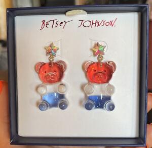 Betsey Johnson Gummy Bear Drop Earrings Glitter Red White & Blue w Crystal Stars