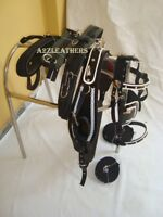 Horse Driving Harness, Patent material, With Designer white weaving on all Items