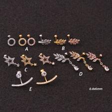 Zircon Pendant Ear Piercing Steel Barbell Earrings Jewelry Helix Cartilage Studs