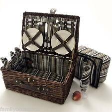 Picnic Hamper Basket 4 Person With Cooler Bag LaRoca Wicker Picnic Hamper Basket