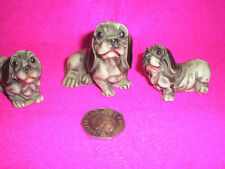 COLLECTABLE CHINA/RESIN DOGS MUM + 2 PUPS BLACK/GREY VERY SWEET