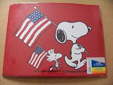 "8 Peanuts paper placemats 13' x 17"" Snoopy and Woodstock w/ American Flags dings"